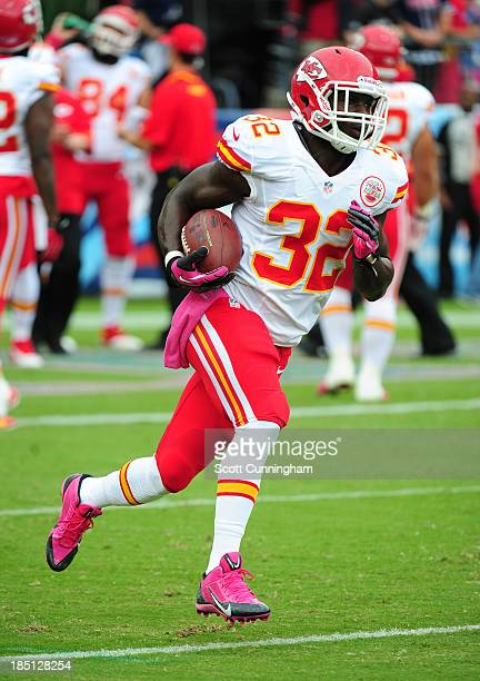 Cyrus Gray of the Kansas City Chiefs warms up before the game against the Tennessee Titans at LP Field on October 6 2013 in Nashville Tennessee