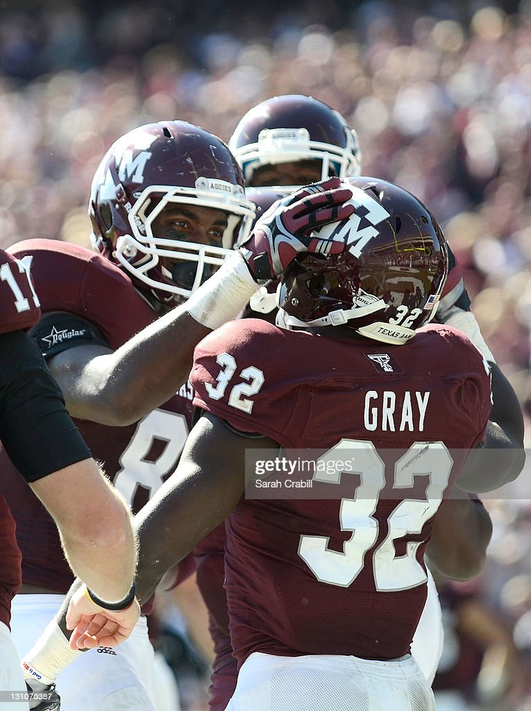 Cyrus Gray #32 of the Texas A&M Aggies celebrates during a game against the Missouri Tigers at Kyle Field on October 29, 2011 in College Station, Texas. The Missouri Tigers defeated the Texas A&M Aggies 38-31.