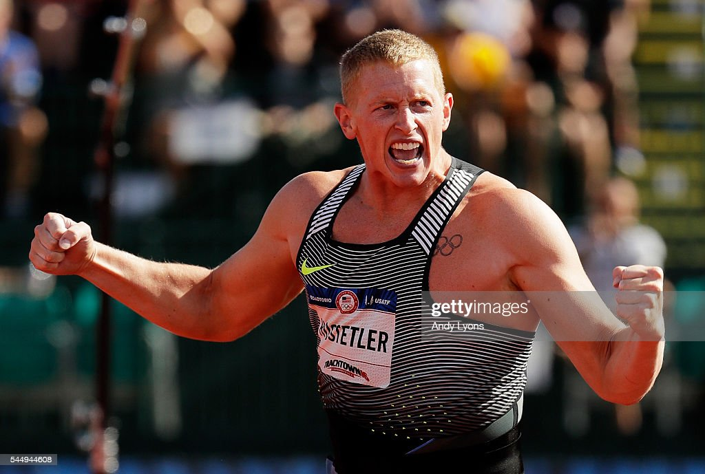 Cyrus Hostetler first place celebrates in the Men's Javelin Throw Final during the 2016 US Olympic Track Field Team Trials at Hayward Field on July 4...