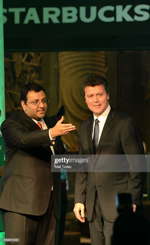 Cyrus Mistry Chairman, Tata sons and John Culver president Starbucks coffee during the launching of Starbucks coffee shop at Connaught Place in New Delhi on Wednesday.