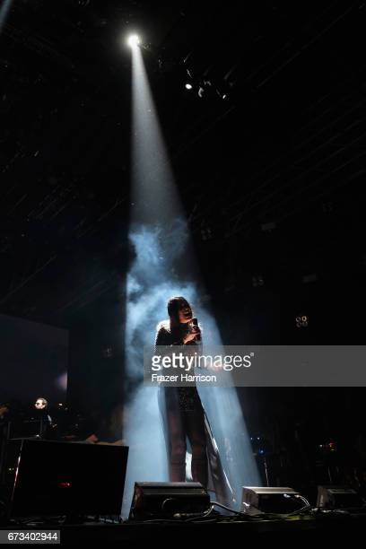 Czarina Russell performs with Hans Zimmer on the OutdooorStage during day 3 of the 2017 Coachella Valley Music Arts Festival at the Empire Polo Club...