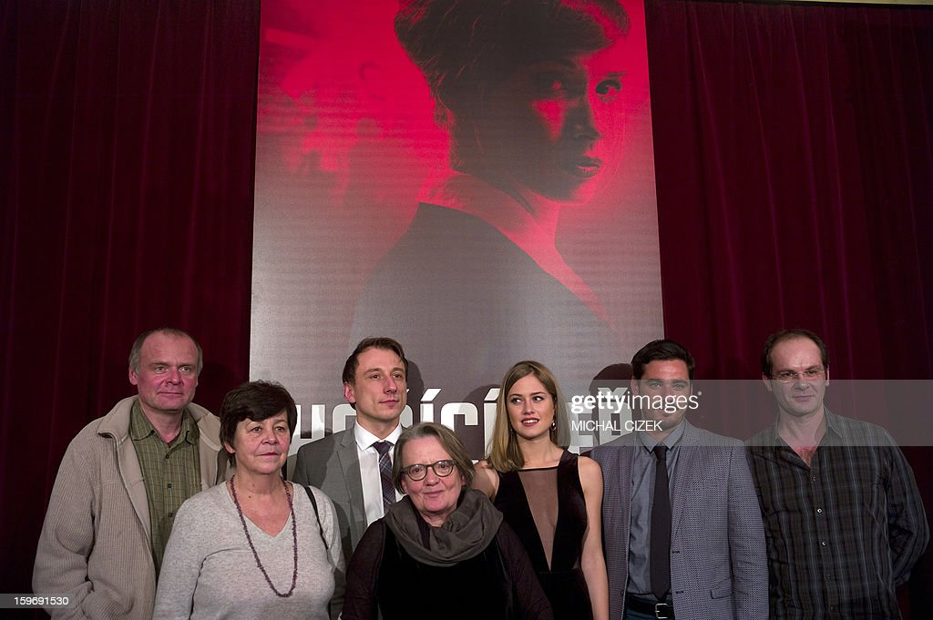 Czech actor Igor Bares, Czech actress Jaroslava Pokorna, Czech actor Petr Stach, Polish film director Agnieszka Holland, Czech actress Emma Smetana, Czech actor Vojtech Kotek and Slovakian actor Adrian Jastraban pose after the press conference where they introduceded their new film ''Burning bush'' on January 18, 2013 in Prague. The film ''Burning bush'' is a three-part drama for HBO about Jan Palach, who immolated himself in January 1969 to protest the 'Normalization', which came after the Warsaw Pact invasion of Czechoslovakia in August 1968.