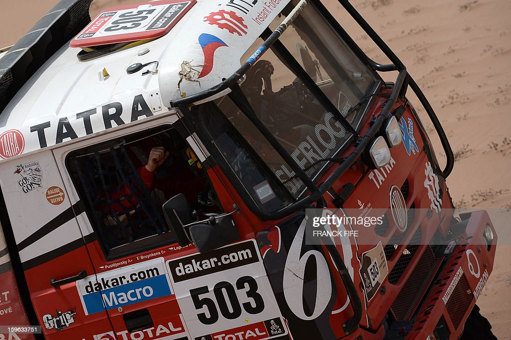 Czech Ales Loprais steers his Tatra during the Stage 12 of the 2013 Dakar Rally between Fiambala in Argentina and Copiapo in Chile, on January 17, 2013. The rally is taking place in Peru, Argentina and Chile from January 5 to 20.