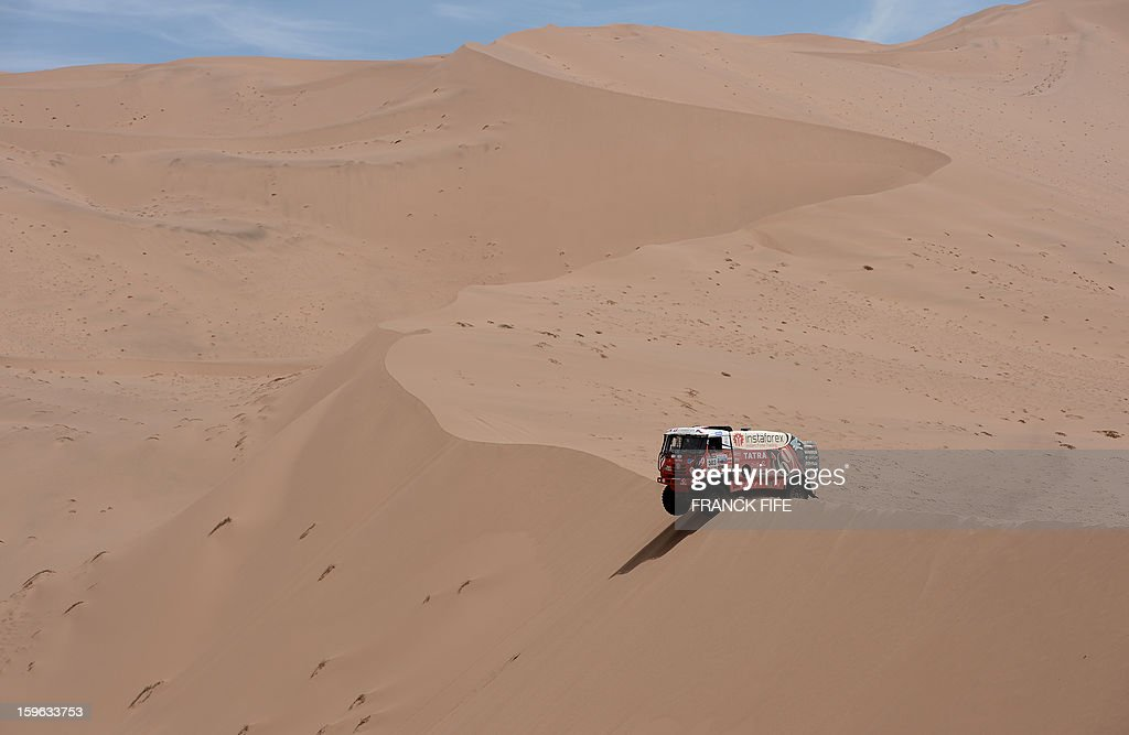 Czech Ales Loprais steers his Tatra during the Stage 12 of the 2013 Dakar Rally between Fiambala in Argentina and Copiapo in Chile, on January 17, 2013. The rally is taking place in Peru, Argentina and Chile from January 5 to 20. AFP PHOTO / FRANCK FIFE
