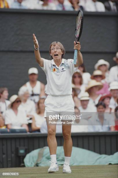 Czech born American tennis player Martina Navratilova pictured appealing against an umpire's decision during competition to reach the final of the...