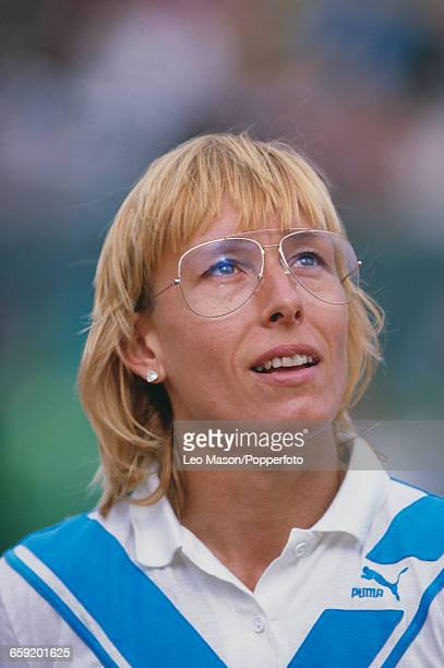Czech born American tennis player Martina Navratilova pictured during competition to progress to reach the final of the Women's Singles tournament at...