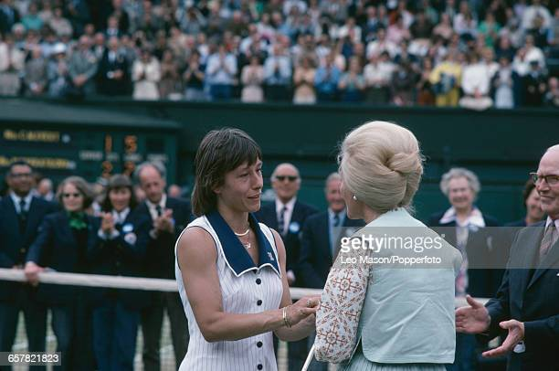 Czech born American tennis player Martina Navratilova pictured shaking hands with Katharine Duchess of Kent after defeating Chris Evert to win the...