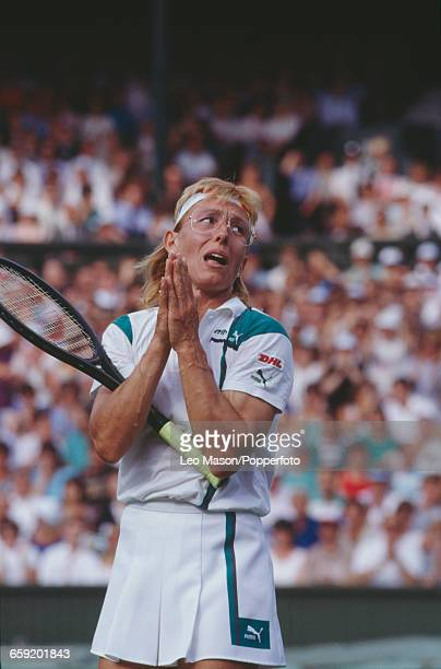 Czech born American tennis player Martina Navratilova pictured in action competing to progress to reach the final of the Ladies' Singles tournament...
