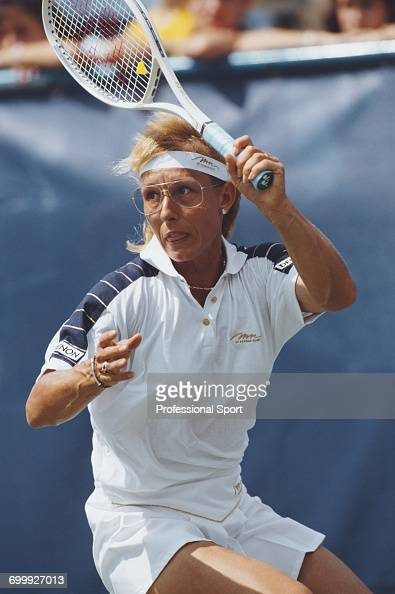 Czech born American tennis player Martina Navratilova pictured in action during competition to reach the fourth round of the 1990 US Open Women's...