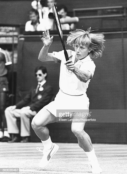Czech born tennis player Martina Navratilova pictured in action during a match on Centre Court at Wimbledon Tennis Championships England July 1984