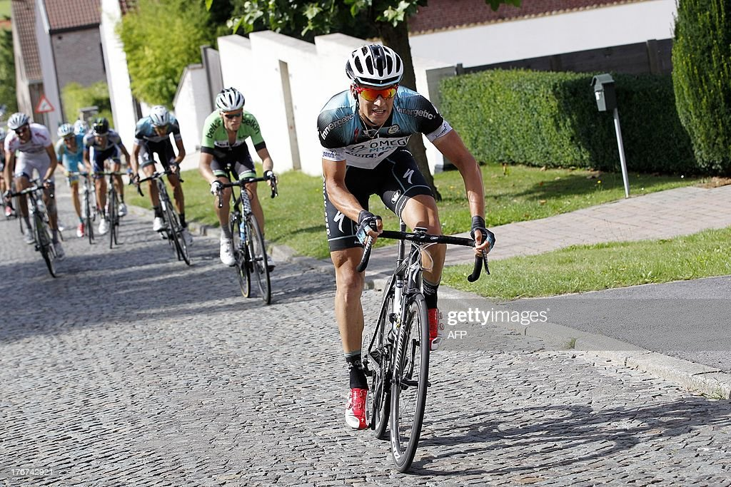 Czech cyclist Zdenek Stybar of team Omega Pharma-Quick Step rides during the seventh stage of the Eneco Tour cycling race, the seventh and last stage of the Eneco Tour cycling race, 208 km from Tienen to Geraardsbergen famous wall, on August 18, 2013.