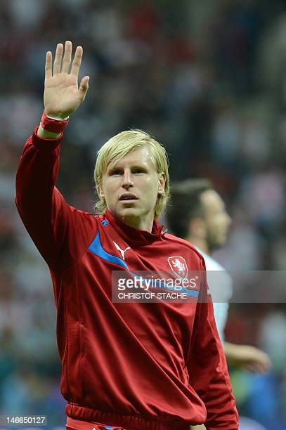 Czech defender Frantisek Rajtoral reacts at the end of the Euro 2012 football championships quarterfinal match the Czech Republic vs Portugal on June...