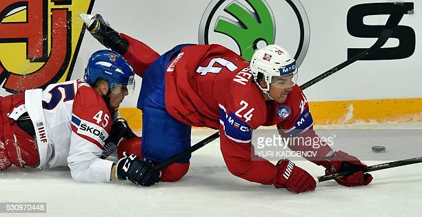 Czech defender Radim Simek vies with Norway's forward Andreas Martinsen during the group A preliminary round game Czech Republic vs Norway at the...