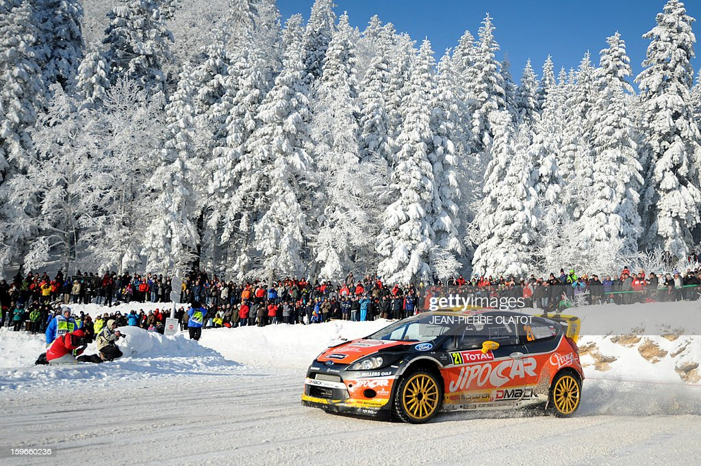 Czech driver Martin Prokop steers his Ford Fiesta RS on January 18, 2013 in the Col de la Machine, southeastern France, during the 11th stage of the 81st Monte-Carlo Rally between Saint-Jean-en-Royans and La Cime du Mas. AFP PHOTO / Jean Pierre Clatot