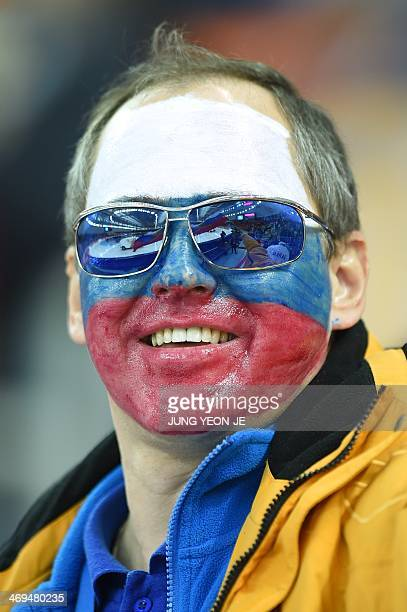A Czech fan is seen during the Men's Speed Skating 1500 m at the Adler Arena during the Sochi Winter Olympics on February 15 2014 AFP PHOTO / JUNG...