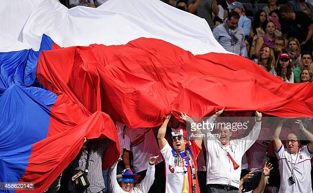 Czech fans celebrate during the first rubber of the Fed Cup Final between Petra Kvitova of the Czech Republic and Andrea Petkovic of Germany at the...