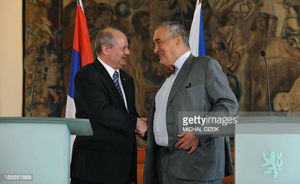 Czech foreign minister Karel Schwarzenberg shakes hands with his Serbian counterpart Ivan Mrkic after their press conference on November 5 in Prague...