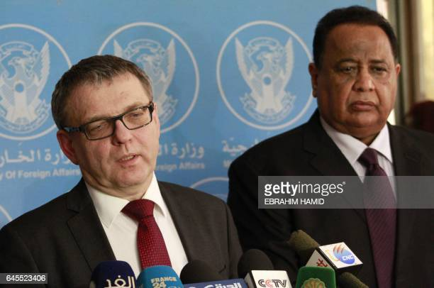 Czech Foreign Minister Lubomir Zaoralek and his Sudanese counterpart Ibrahim Ghandour speak to journalists following a meeting in Khartoum on...