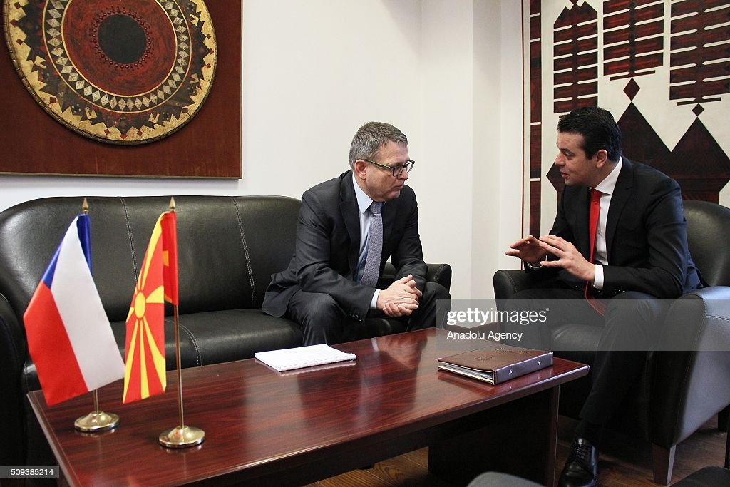 Czech Foreign Minister Lubomir Zaoralek (L) and Macedonian Foreign Minister Nikola Poposki (R) are seen during a meeting on the European Refugee Crisis in Skopje, Macedonia on February 10, 2016.