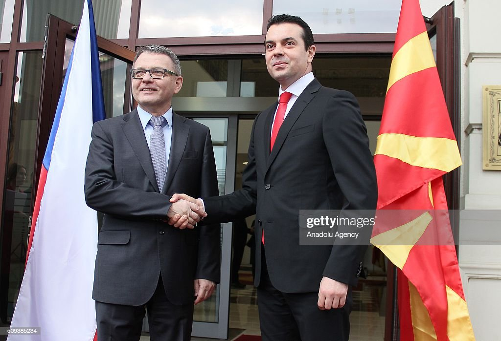 Czech Foreign Minister Lubomir Zaoralek (L) and Macedonian Foreign Minister Nikola Poposki (R) shake hands before they hold a meeting on the European Refugee Crisis in Skopje, Macedonia on February 10, 2016.