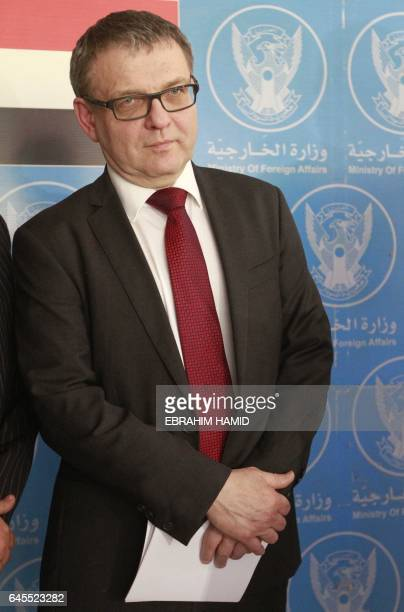 Czech Foreign Minister Lubomir Zaoralek speaks to journalists following a meeting with his Sudanese counterpart in Khartoum on February 26 2017...