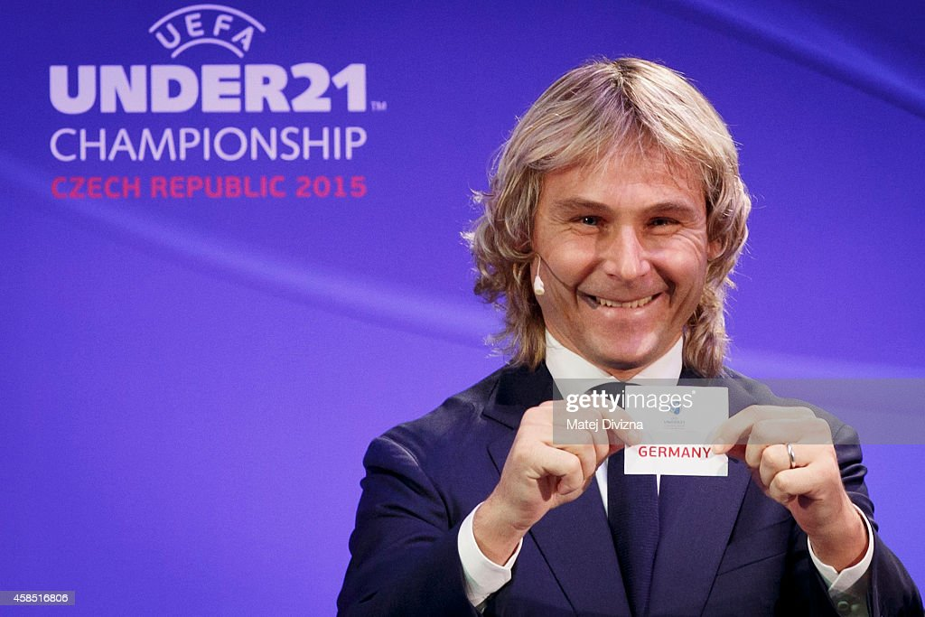 Czech former international and tournament ambassador <a gi-track='captionPersonalityLinkClicked' href=/galleries/search?phrase=Pavel+Nedved&family=editorial&specificpeople=211256 ng-click='$event.stopPropagation()'>Pavel Nedved</a> makes the draw during the UEFA 2015 European U21 Championship Draw on November 6, 2014 in Prague, Czech Republic. The finals will be held from 17 to 30 June 2015 in Prague, Olomouc and Uherske Hradiste.