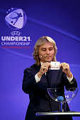 Czech former international and tournament ambassador Pavel Nedved makes the draw during the UEFA 2015 European U21 Championship Draw on November 6...