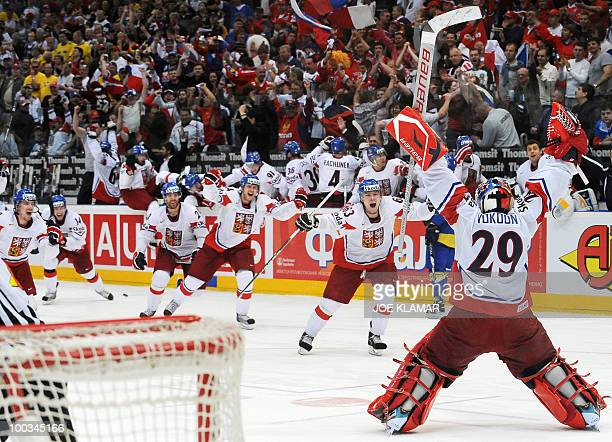 Czech goalie Tomas Vokoun and teammates celebrate their team's victory over team Sweden 32 in a penalty shootout during the semifinal match Sweden vs...