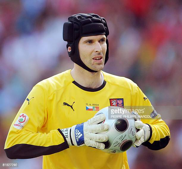 Czech goalkeeper Petr Cech hols the ball during the Euro 2008 Championships Group A football match Czech Republic vs Portugal on June 11 2008 at...