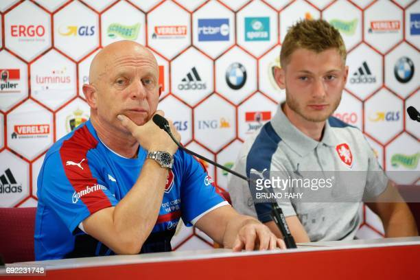Czech head coach Karel Jarolim and Czech Jakub Brabec answer journalists questions during a press conference of the Czech national soccer team on...