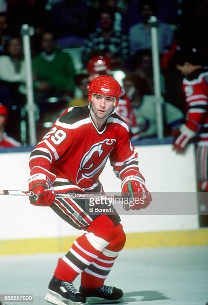 Czech hockey player Jan Ludvig of the New Jersey Devils on the ice in October 1984