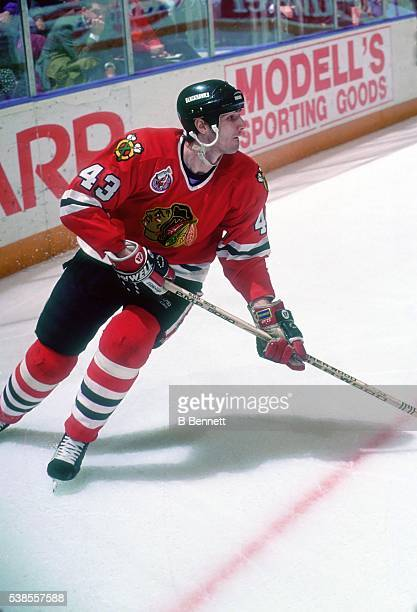 Czech hockey player Milan Tichy of the Chicago Blackhawks on the ice in March 1980