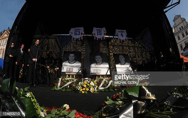 Czech Ice hockey players and members of the Czech ice hockey association pay tribute to Josef Vasicek Jan Marek and Karel Rachunek 3 members of Czech...