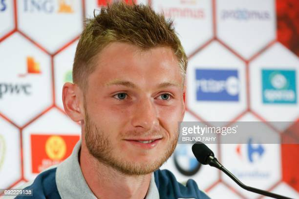 Czech Jakub Brabec speaks during a press conference of the Czech national soccer team on June 4 in Brussels on the eve of a friendly game against...