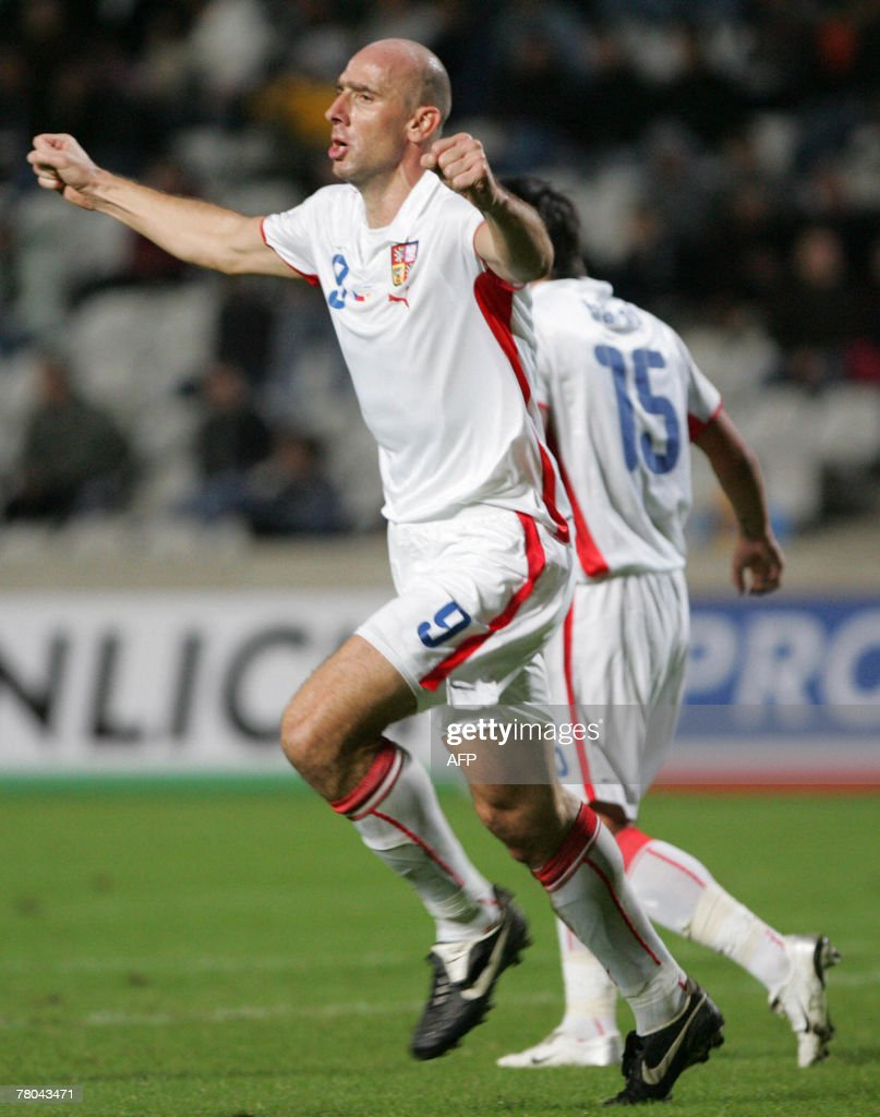 Czech Jan Koller celebrates after scoring a goal during the Euro 2008 qualifying football match between Czech Republic and Cyprus at GSP Stadium in...