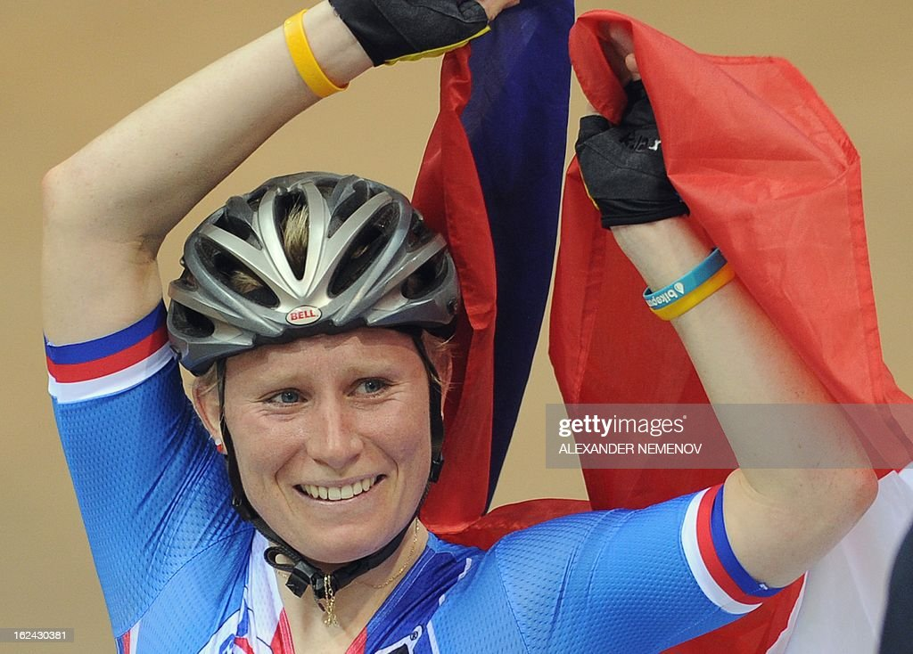 Czech Jarmila Machacova celebrates winning the Womens' 25 km Point Race event of the UCI Track Cycling World Championships in Minsk on February 23, 2013.