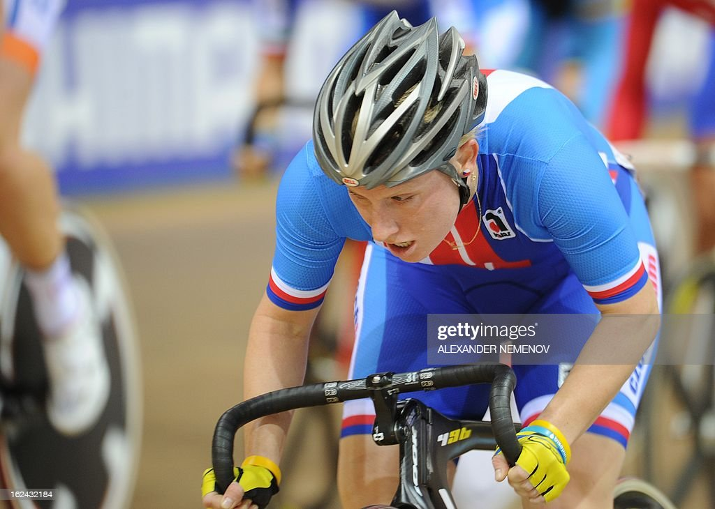 Czech Jarmila Machacova competes for the gold in the Womens' 25 km Point Race event of the UCI Track Cycling World Championships in Minsk on February 23, 2013.