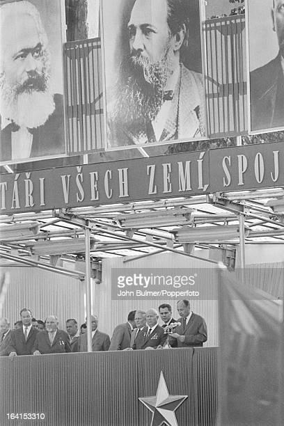 Czech leader Alexander Dubcek and former Soviet leader Nikita Khrushchev during a Communist gathering in Prague 1968