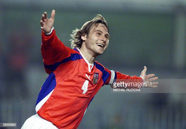 Czech midfielder Pavel Nedved is jubilant 06 October 2001 in Tokyo during World soccer Championship after scoring against Bulgaria Nedved is in the...