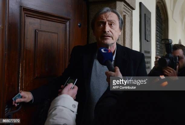 Czech Minister of Defence Martin Stropnicky and member of the ANO movement answers journalists' questions at the parliament during talks with...