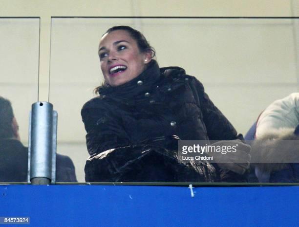 Czech Model Alena Seredova wife of Italian goalkeeper Gianluigi Buffon watches from the stand the Serie A football match between FC Juventus and...