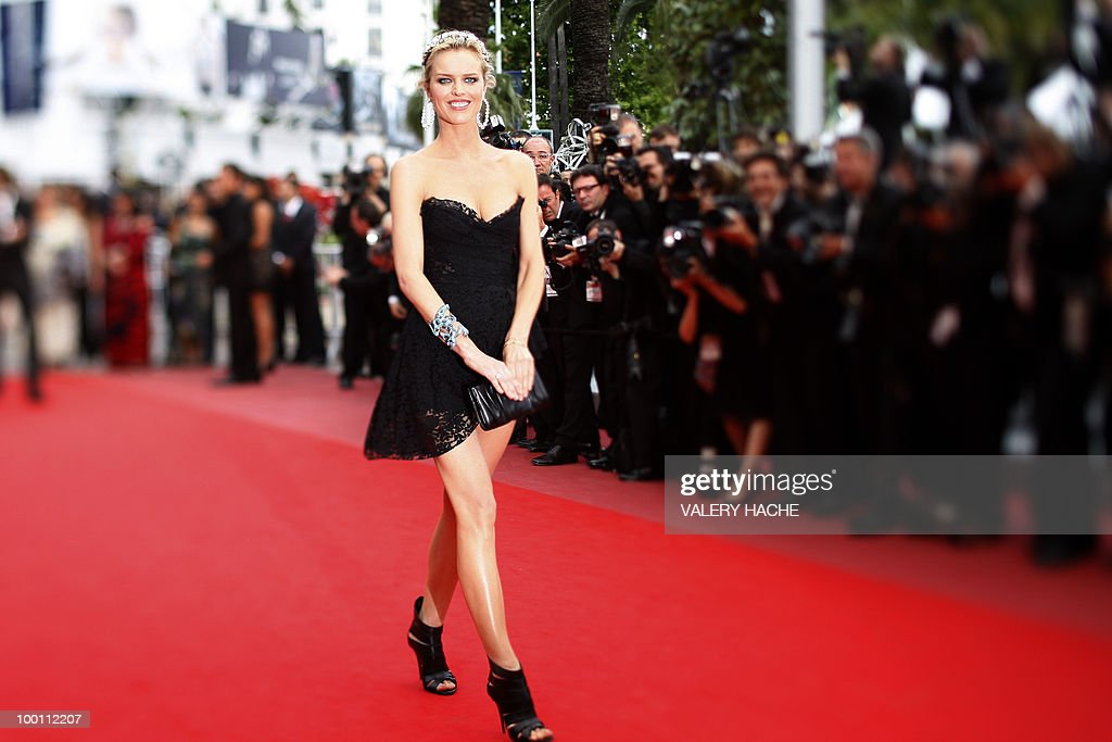 Czech model Eva Herzigova arrives for the screening of 'La Princesse de Montpensier' presented in competition at the 63rd Cannes Film Festival on May 16, 2010 in Cannes. Photo taken with a tilt and shift lens.