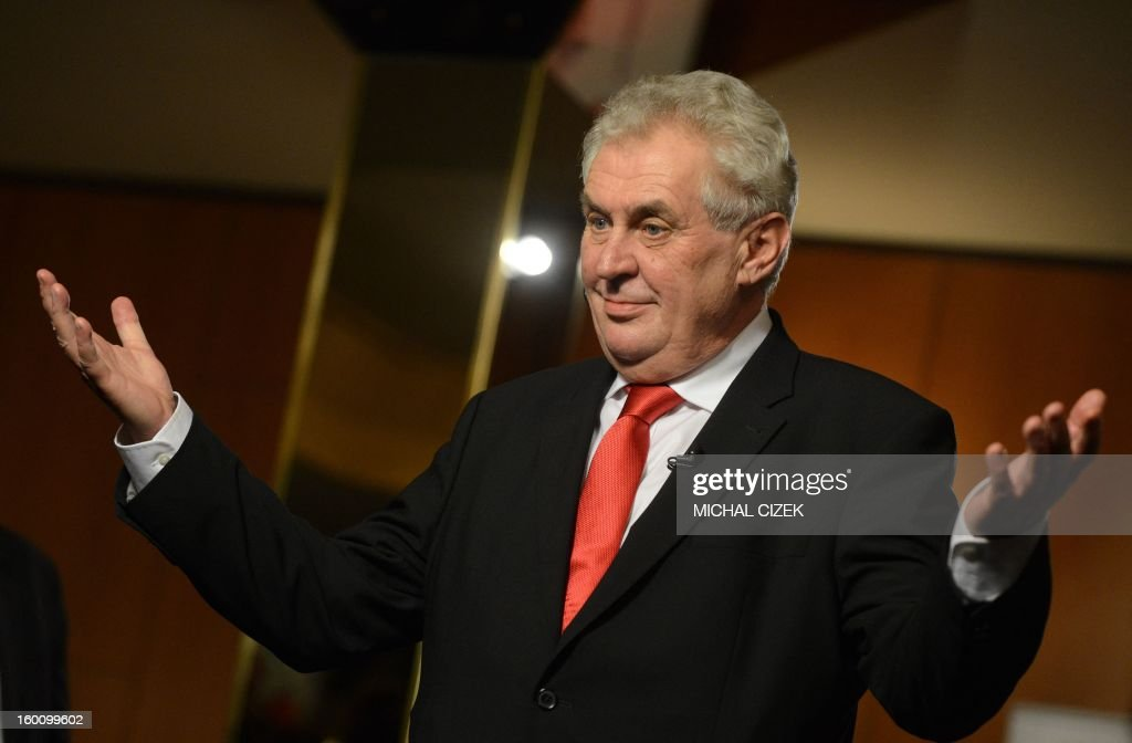 Czech new-elected President Milos Zeman gives an interview for the Czech television on January 26, 2013 in Prague, after the result of the second round of the Presidential elections has been announced. Czechs chose outspoken veteran leftist Milos Zeman, an ex-premier, as their new president in the runoff of the EU republic's first direct election.