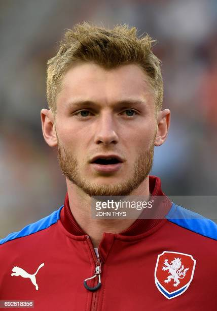 Czech player Jakub Brabec poses during the friendly football match between Belgium and Czech Republic at the King Baudouin Stadium on June 5 2017 in...