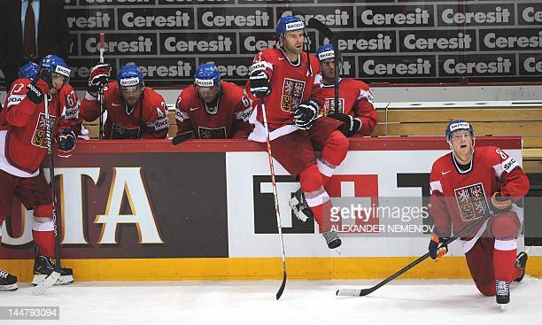 Czech players react as they were defeated 31 by team Slovakia during a semifinal game of the IIHF International Ice Hockey World Championship in...