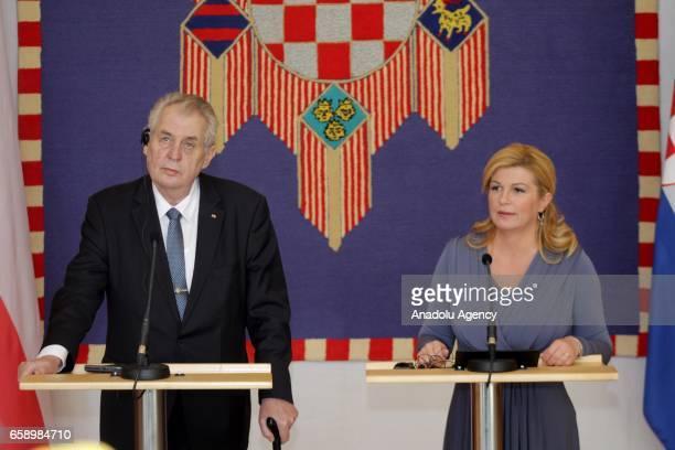 Czech President Milos Zeman and Croatian President Kolinda Grabar Kitarovic hold a joint press conference following their meeting in Zagreb Croatia...