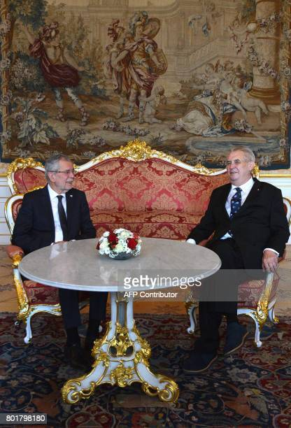 Czech President Milos Zeman and his Austrian counterpart Alexander Van der Bellen pose for photographers on June 27 2017 prior a meeting at the...
