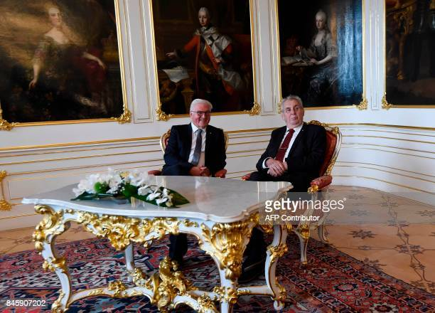 Czech President Milos Zeman and his German counterpart FrankWalter Steinmeier pose for a picture on September 12 2017 at the Castle in Prague / AFP...