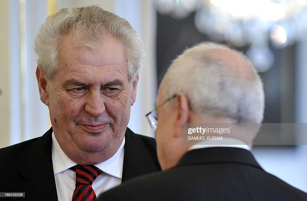 Czech President Milos Zeman (L) and his Slovak counterpart Ivan Gasparovic (R) are pictured on April 4, 2013 during their official meeting in Bratislava. New elected Czech President Milos Zeman is on his first official two-day visit to Slovakia.