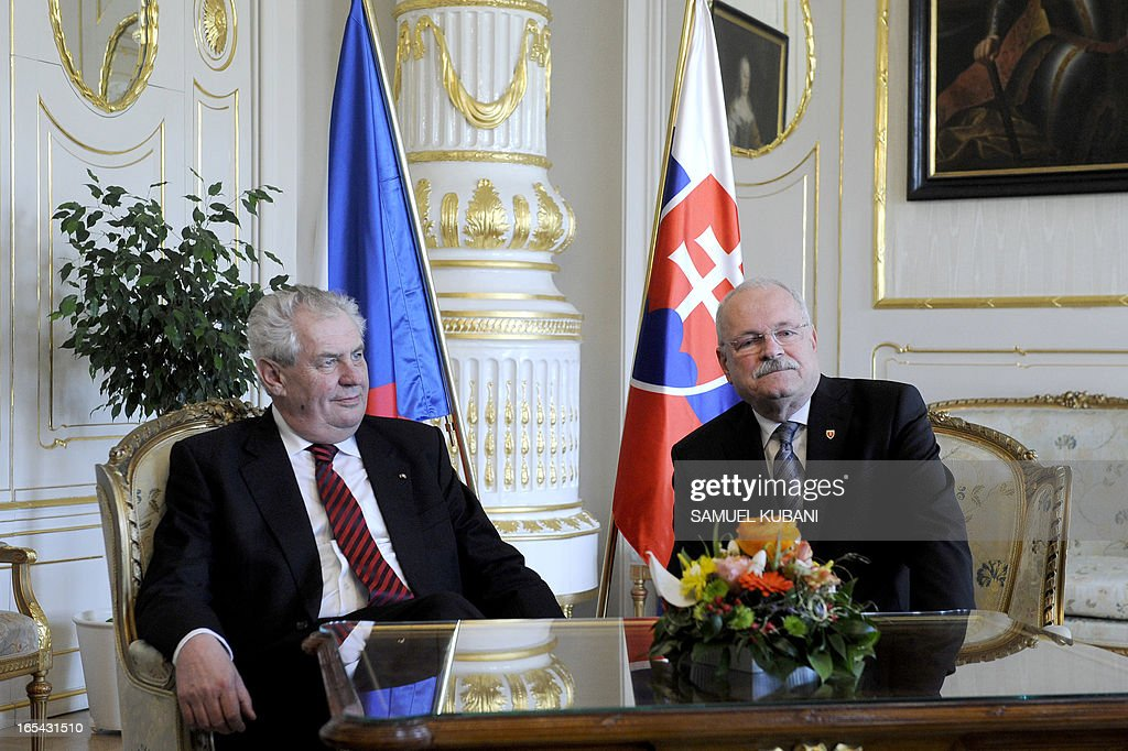 Czech President Milos Zeman (L) and his Slovak counterpart Ivan Gasparovic are pictured on April 4, 2013 during their official meeting in Bratislava. New elected Czech President Milos Zeman is on his first official two-day visit to Slovakia.